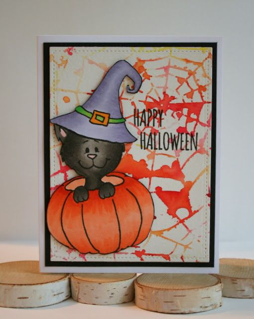 Spider Web Background Halloween Card with Gerda Steiner Designs - halloween design