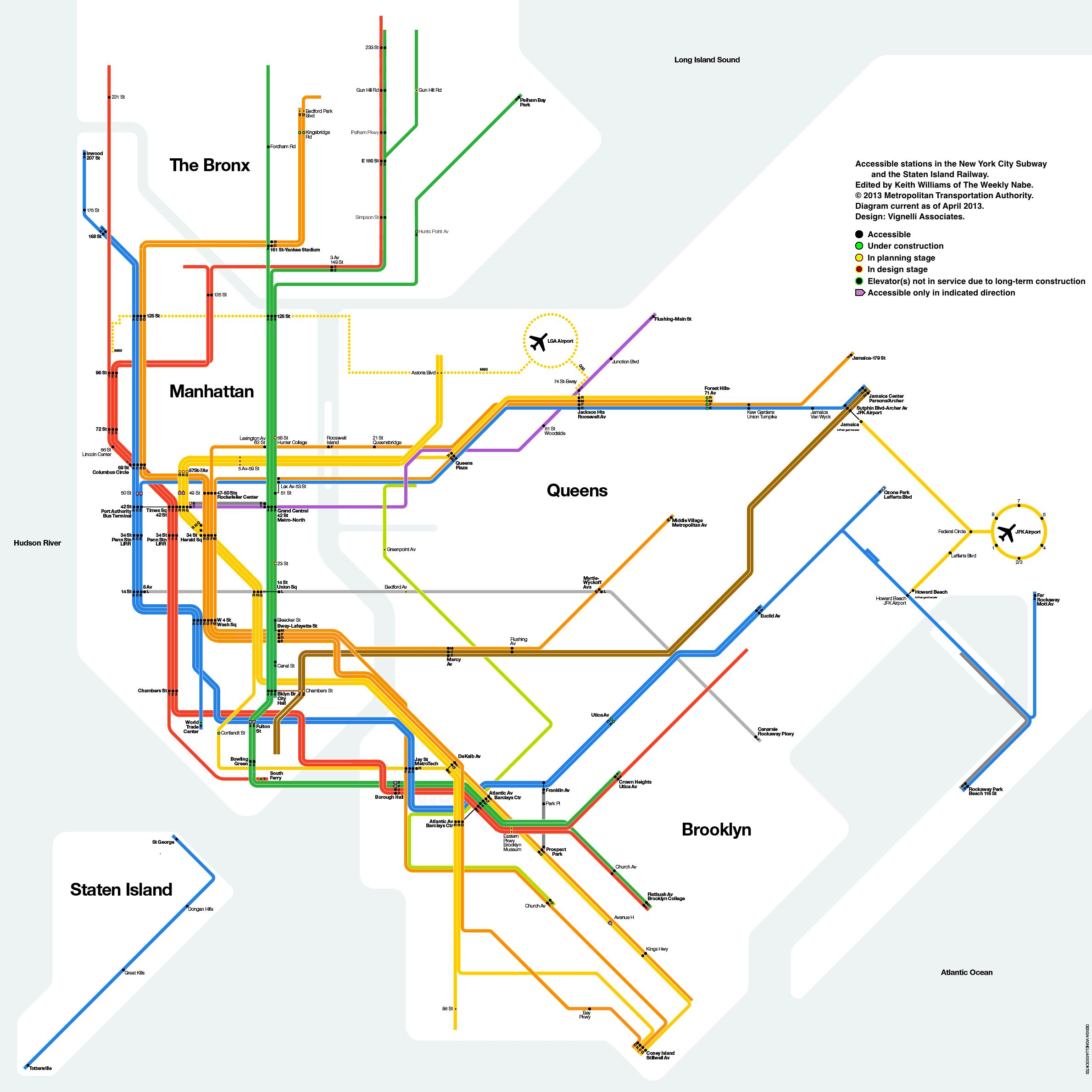 NYC Subway Map With Only Accessible Stations Shown Shows The - Nyc subway map queens ny