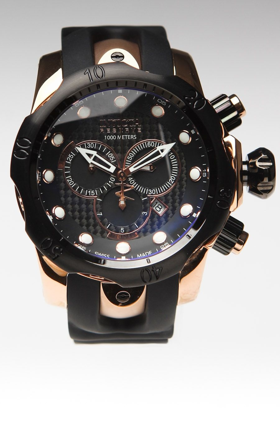 3df7def5baf Invicta Reserve Swiss Made Venom Elegant Chronograph Watch Rose Black