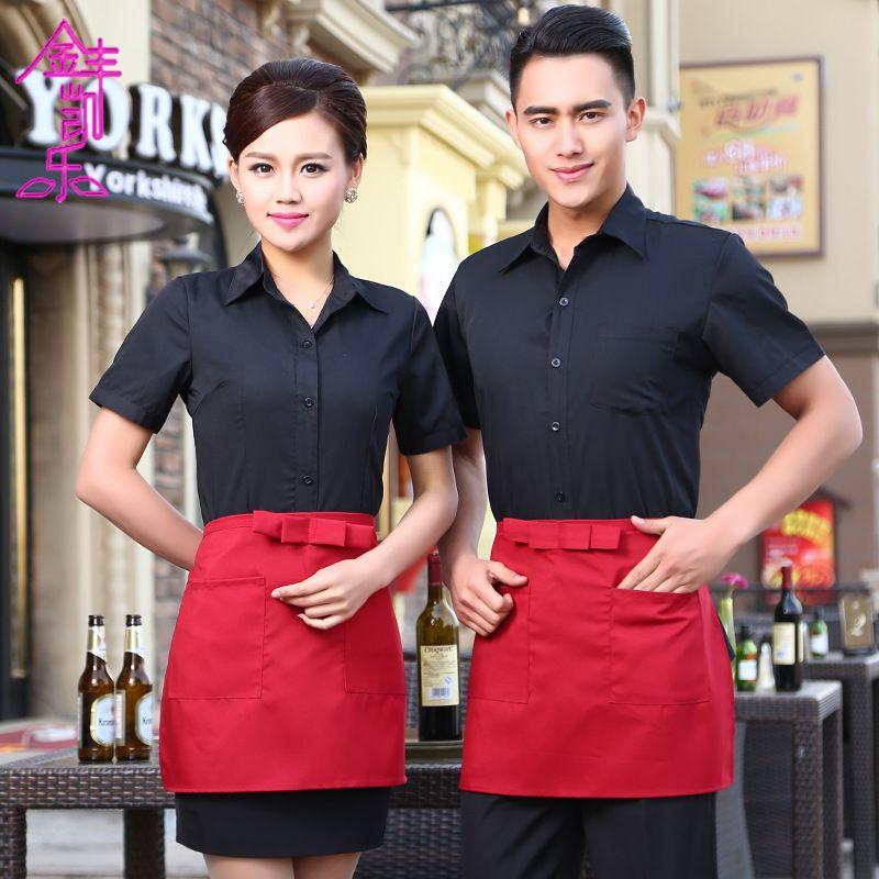 The hotel restaurant cafe waiter uniforms shirt summer for Restaurant uniform shirts wholesale