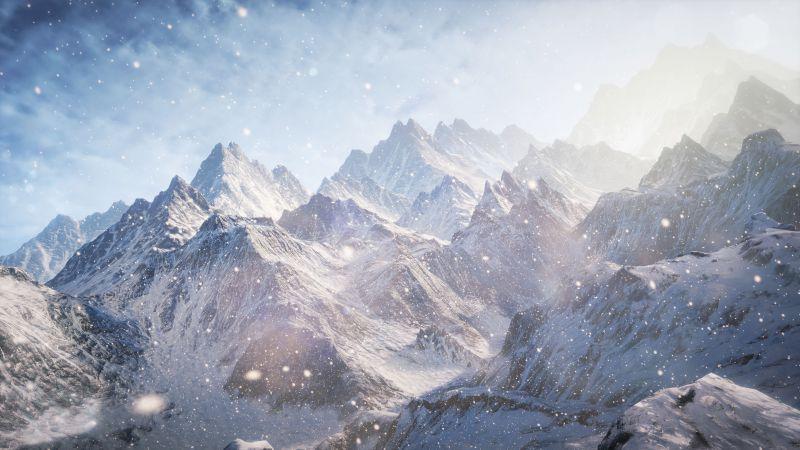 3D, 5k, 4k wallpaper, 8k, Mountains, snow, clouds