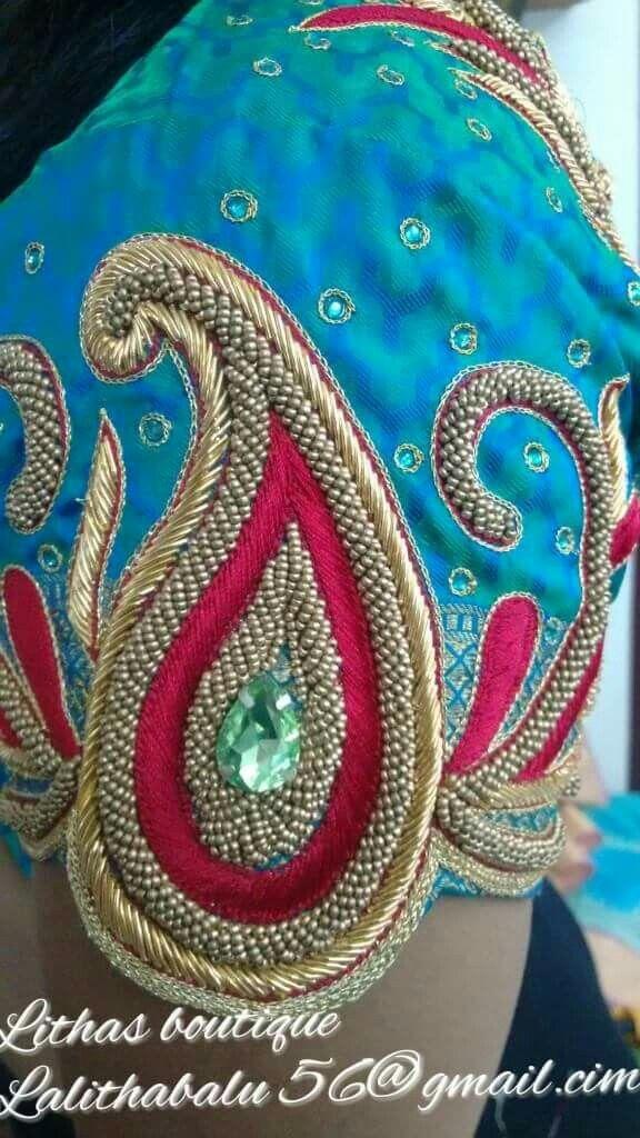 Blouse neck designs sleeve aari work zardosi embroidery maggam also pin by shilpa  on pinterest rh