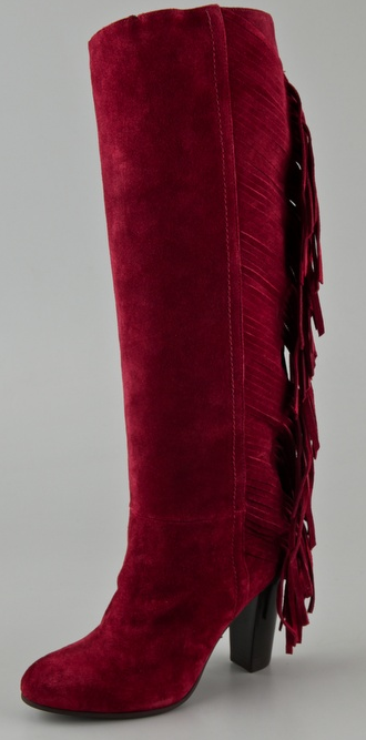 Tall, Suede, RED, Fringe = Gypsy...