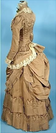 1882 Cocoa Colored Silk 2-piece Bustle Wedding Gown with Silk Lace Trim
