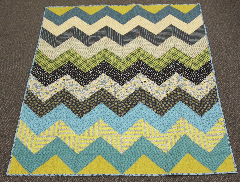 Chevron Lap Baby Toddler quilt in Chicopee -- blue, green, aqua ... : chevron quilt pattern free - Adamdwight.com
