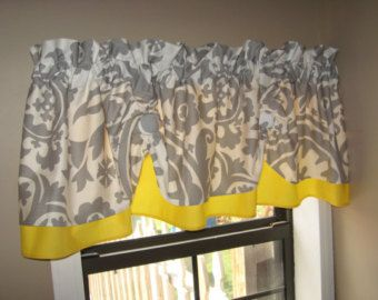 Perfect Valance Window Curtain Swagged Swag Custom Made Bathroom Kitchen . Gray  Yellow Kitchen CurtainsGray Curtains EBay