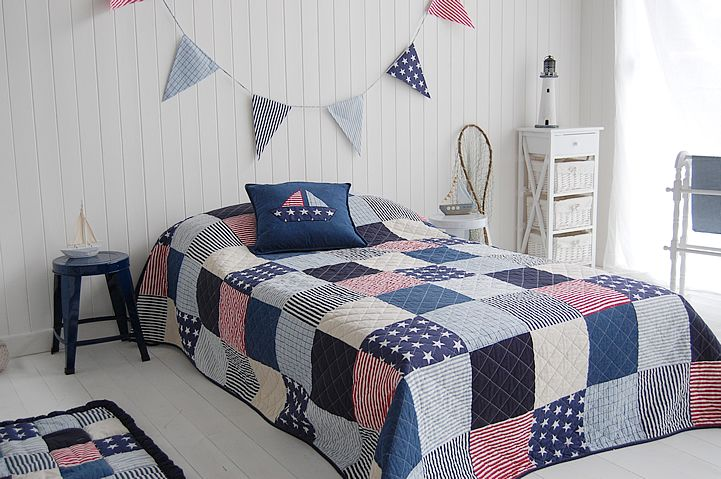 New England Style Bedroom With Traditional Stars And Stripes In Reds Blue