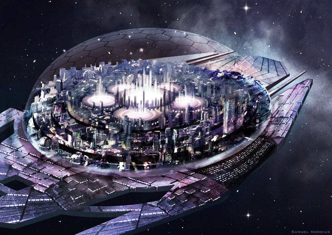 A City Floating In Space Futuristic City Space Fantasy Space City