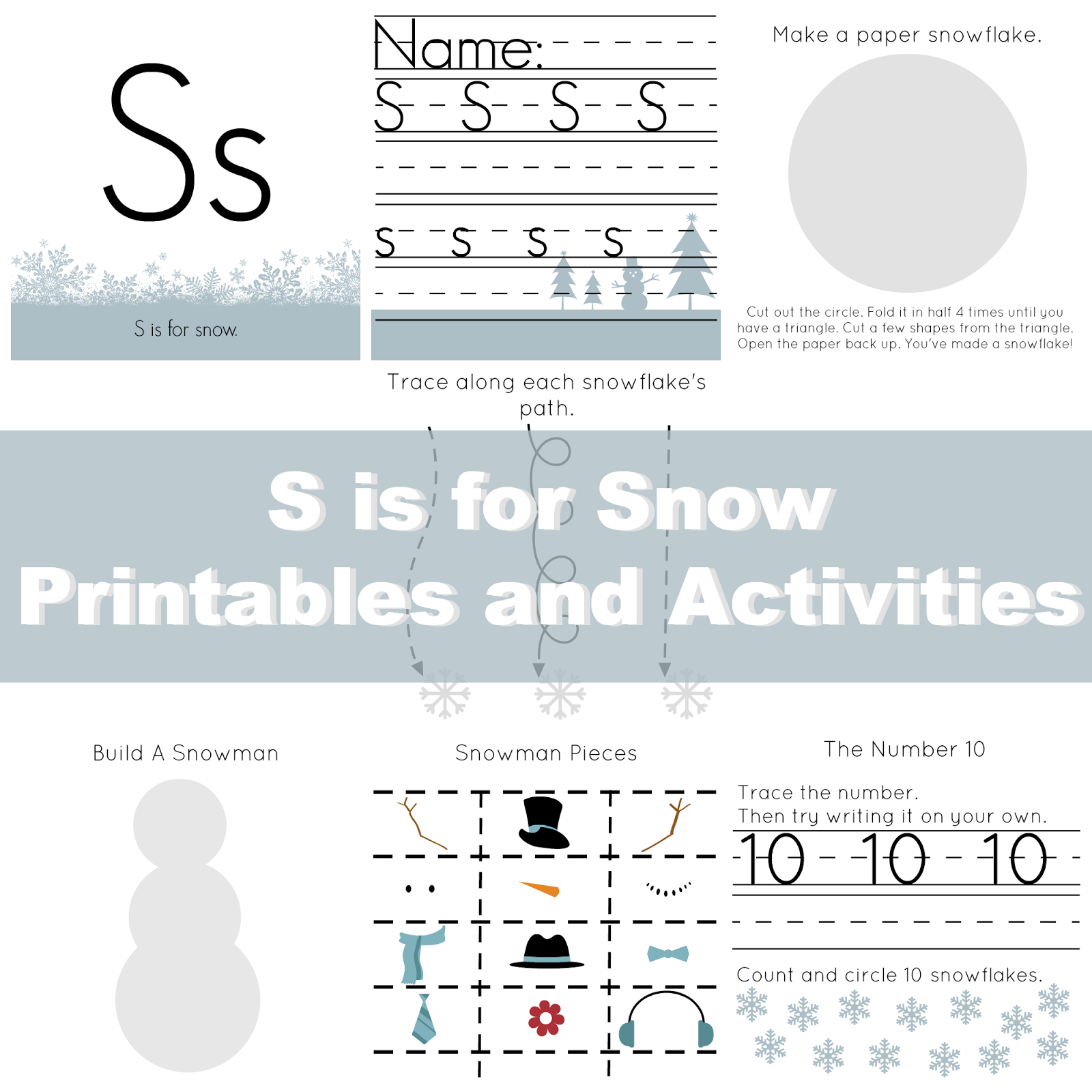 Free Preschool Printables S Is For Snow From The Life Of