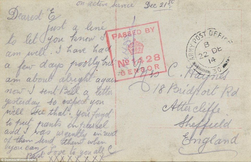 Postcards from a Tommy to his sweetheart reveal horrors of the Somme