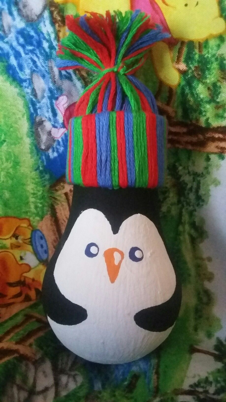 Mister penguin is finished with his new hatornament made by