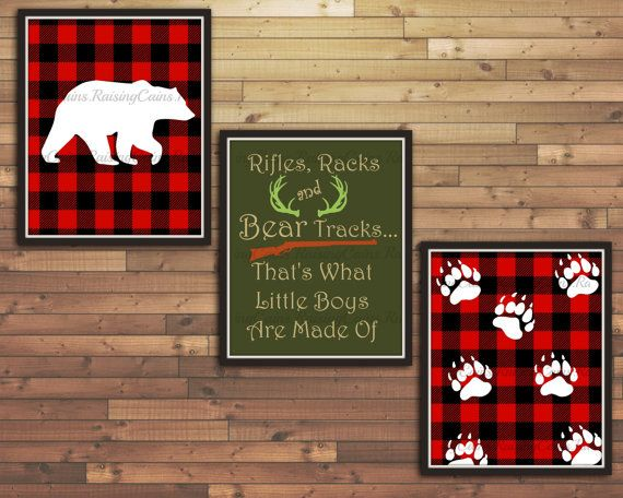 Hunting Nursery Wall Art Boys Hunting Bedroom Decor Hunting Prints Red  Flannel Print Log Cabin Theme