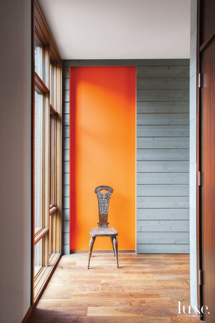 Contemporary Gray Hallway With Orange Accent Luxe