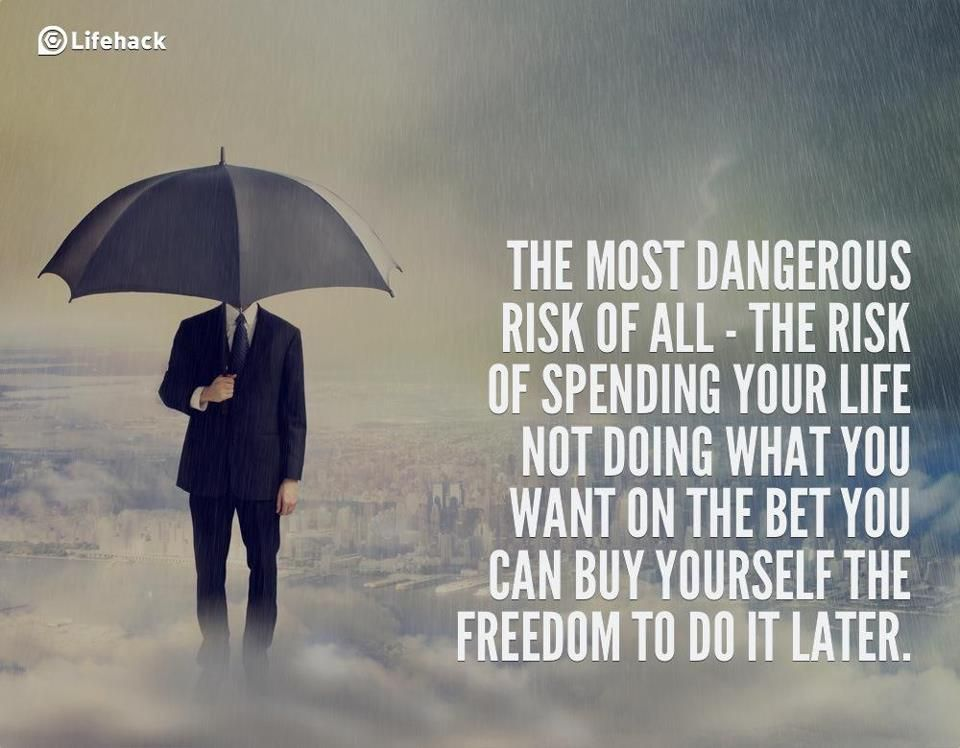 The most dangerous risk of all is the risk of spending your life not doing what you want on the bet you can buy yourself the freedom to do it later.