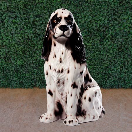 """Cocker Spaniel Statue- Item # 11038 Price: $239.00 Cocker spaniel statue 21.5 inches high.  Beautiful ceramic sculpture hand made in Italy by skilled artisans.  Rich in detail and colors.  Patterns and colors may vary slightly. Ships FREE in continental USA Dimensions:  21.5""""H Material:  Fine Italian Ceramic"""