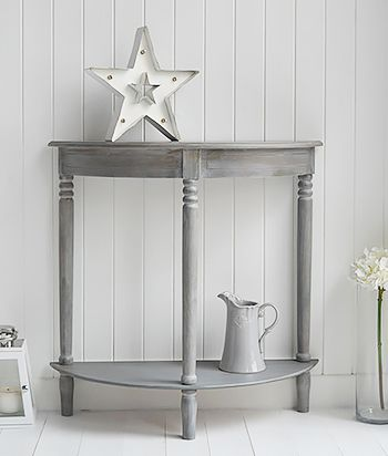 British Colonial Grey Furniture half moon console table for your