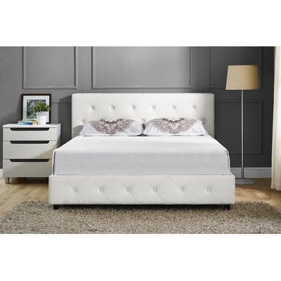 Andover Mills Salina Upholstered Platform Bed Size: Queen, Color: White