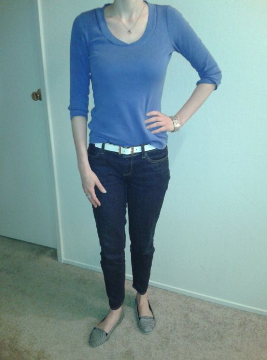 T23Apr13--Day off! Blue 3/4 v-neck tee (Ann) over ankle denim (Talbots) with silver tone hamsa, silver tone link cuff (LOFT), black and white reversible belt (Talbots), silver tone stacked rings (Banana) and blue striped loafer (F21).