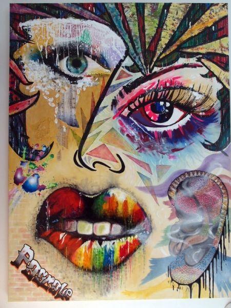 Tableau peinture oeil levres regard visage abstrait peinture a l 39 huile 5 sens activite les 5 - Peinture sur visage ...