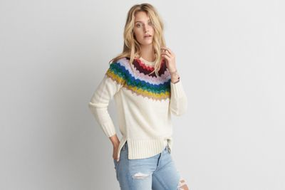 aeo patterned pullover sweateramerican eagle