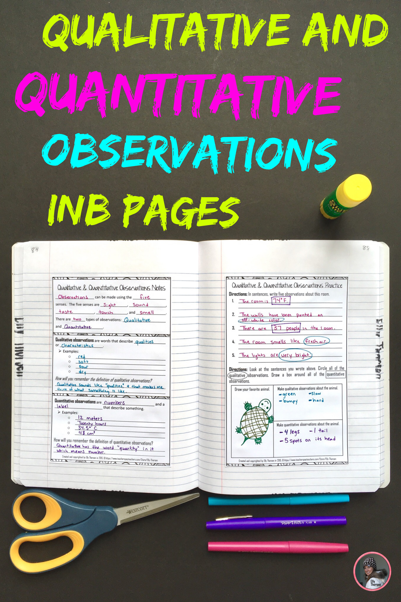 Qualitative And Quantitative Observations Interactive Notebook Pages For Middle School Middle School Science Interactive Notebooks Interactive Science Notebook