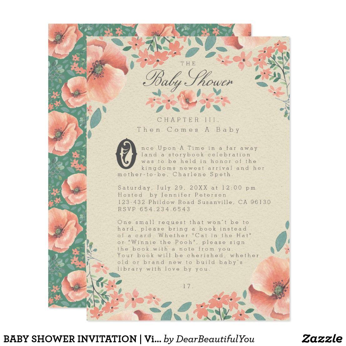 Baby shower invitation vintage floral storybook celebrate the baby shower invitation vintage floral storybook filmwisefo