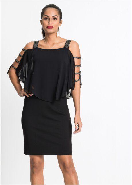 Shirtkleid mit Chiffon-Überwurf schwarz - Damen