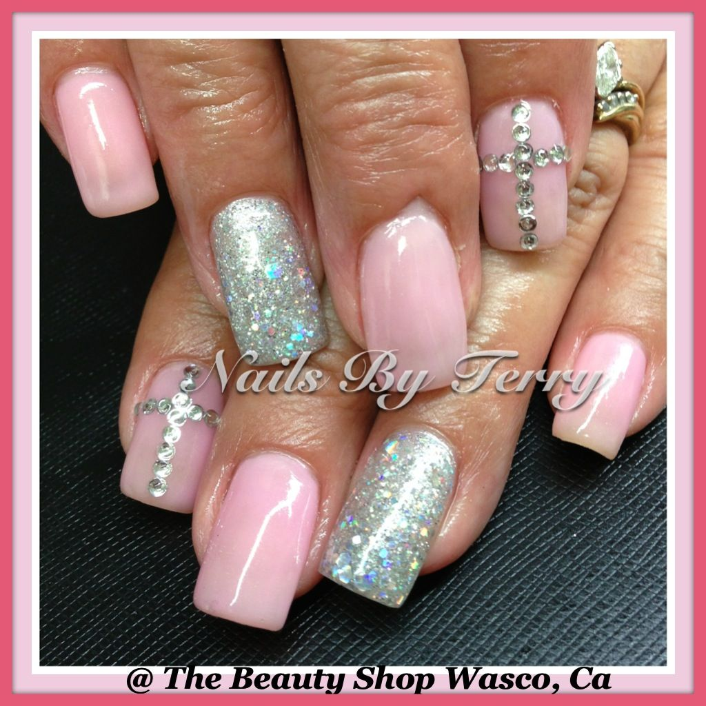 Light Nail Designs: Light Pink & Sliver Gel Nails With Rhinestones Cross