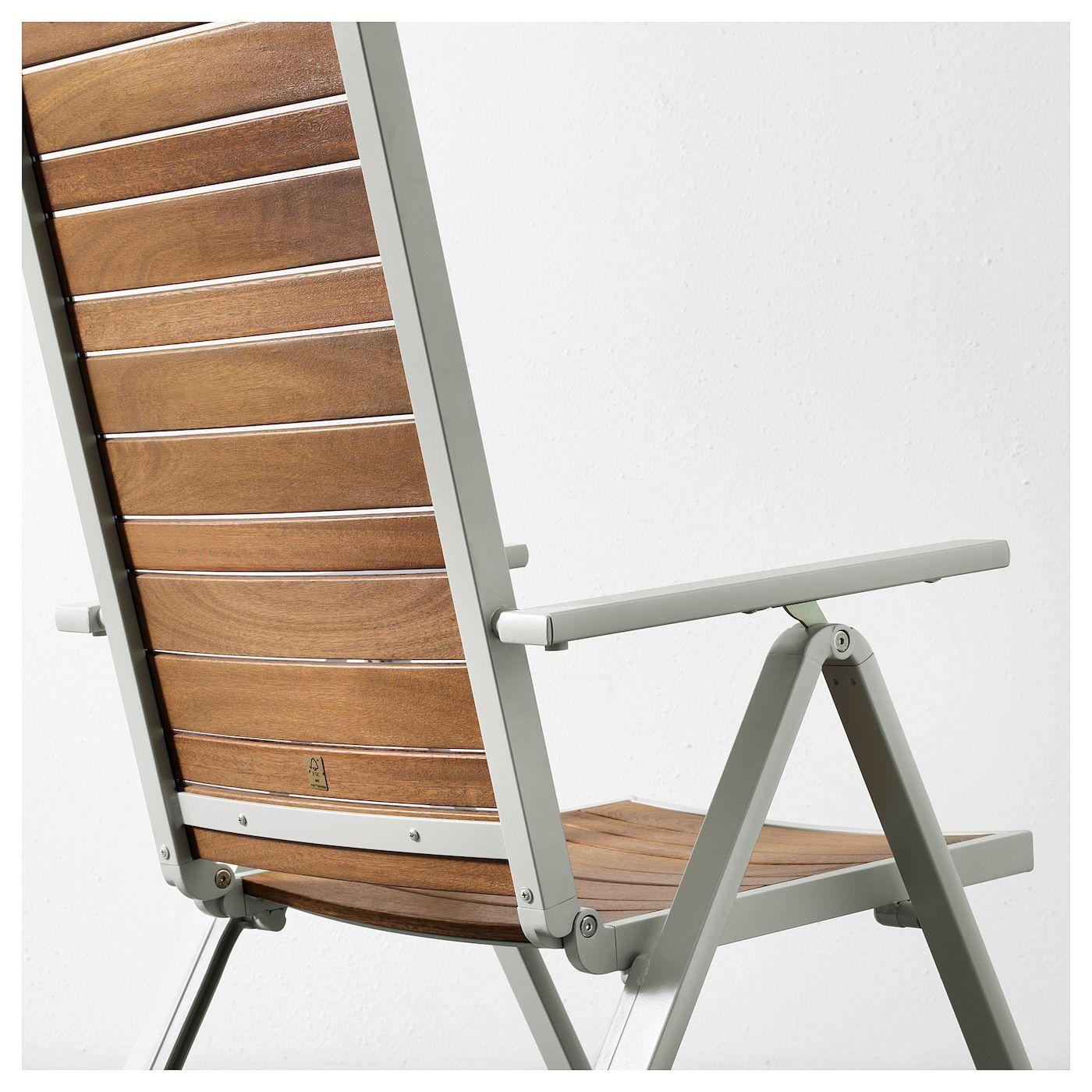 Sjalland Reclining Chair Outdoor Light Gray Foldable Light Brown Relaxliege Aussenmobel Gartenmobel Sets
