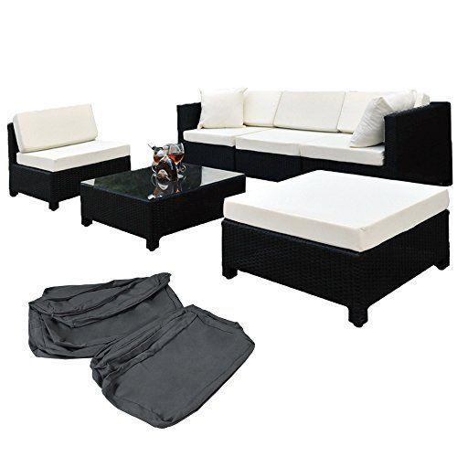 Lieblich TecTake Hochwertige Aluminium Luxus Lounge Mit 2 Bezugssets Poly Rattan  Sitzgruppe Sofa Rattanmöbel Gartenmöbel Schwarz