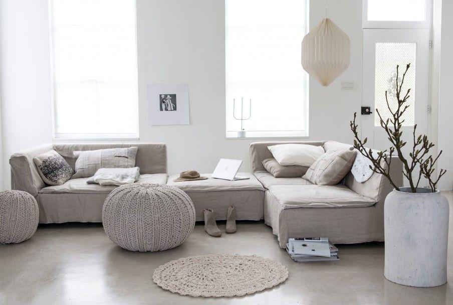 Afbeelding woonkamer (crème met grijstinten gecombineerd, mooi ...