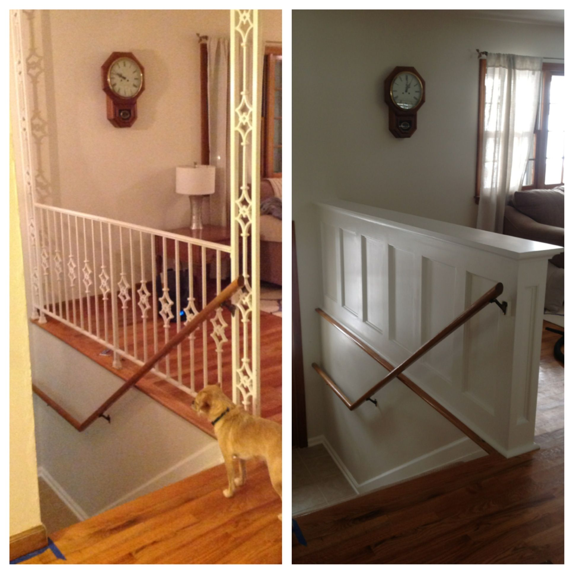 Entry stair railing split foyer wall ideas walls and for Foyer staircase ideas