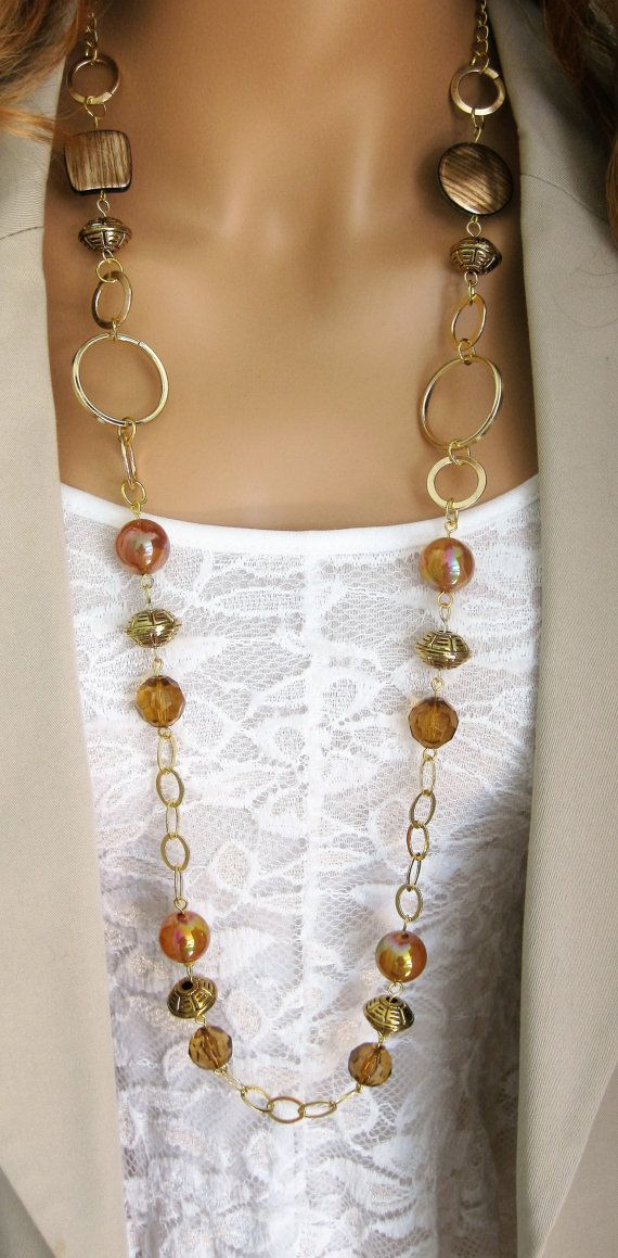 Long Gold And Brown Chunky Beaded Necklace Long Brown