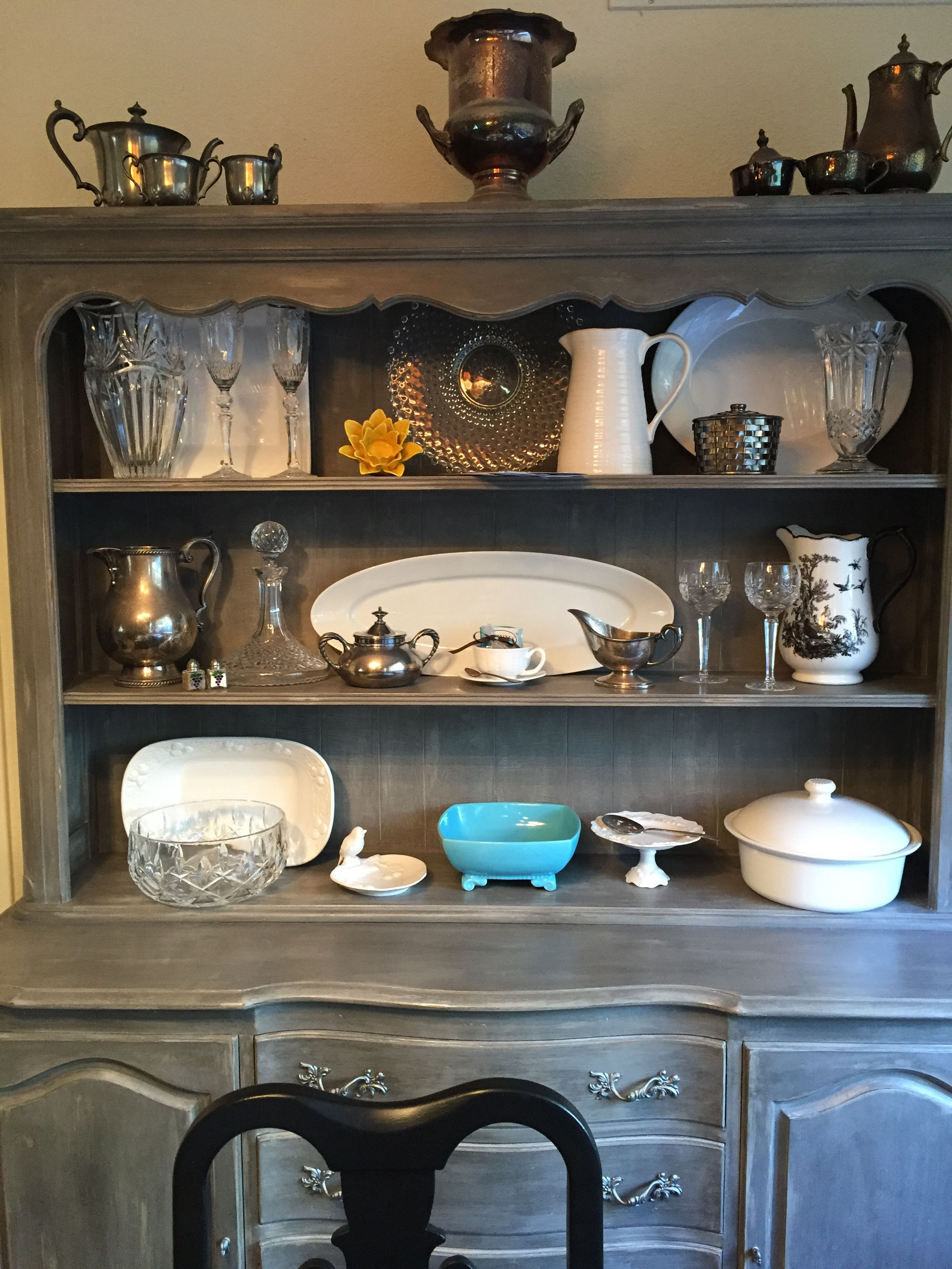 Cece Caldwell Chalk Paint In Seattle Mist And Pittsburgh Grey Refinished  China Cabinet