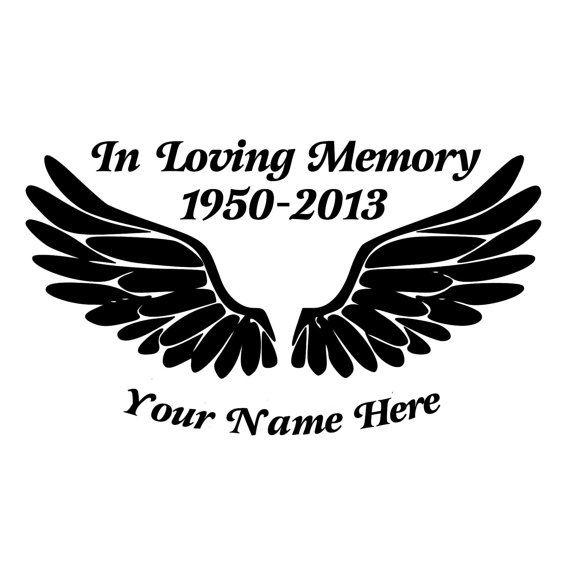 In Loving Memory Angel Wings Vinyl Decal for Car Window laptop tumbler