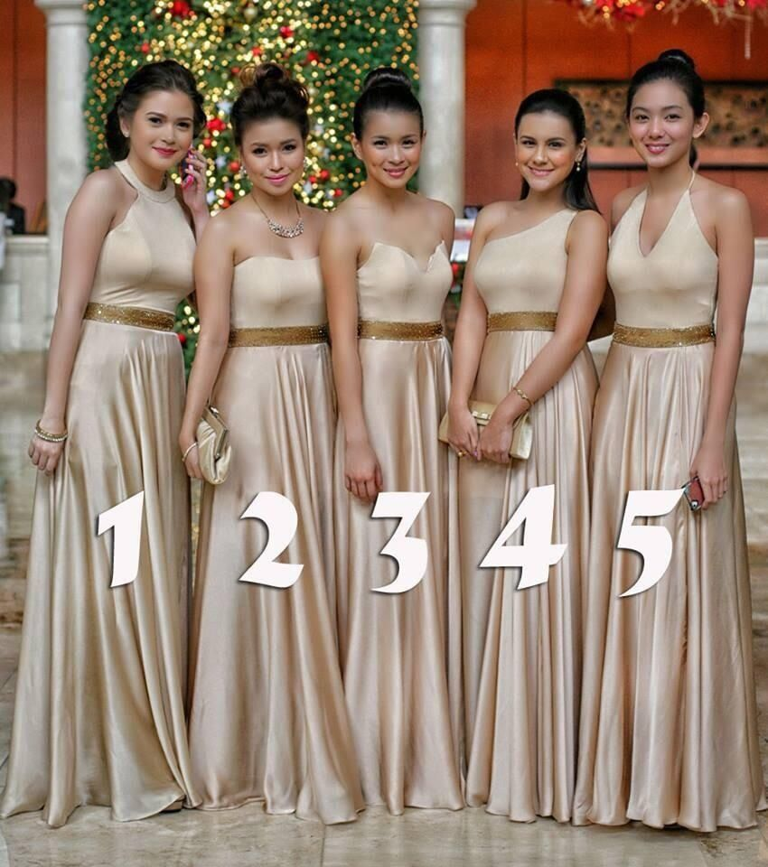Nude bridesmaid dresses bridesmaid pinterest nice idea to have just in case all of your bridemates are different shapes same color dresses different cuts ombrellifo Images