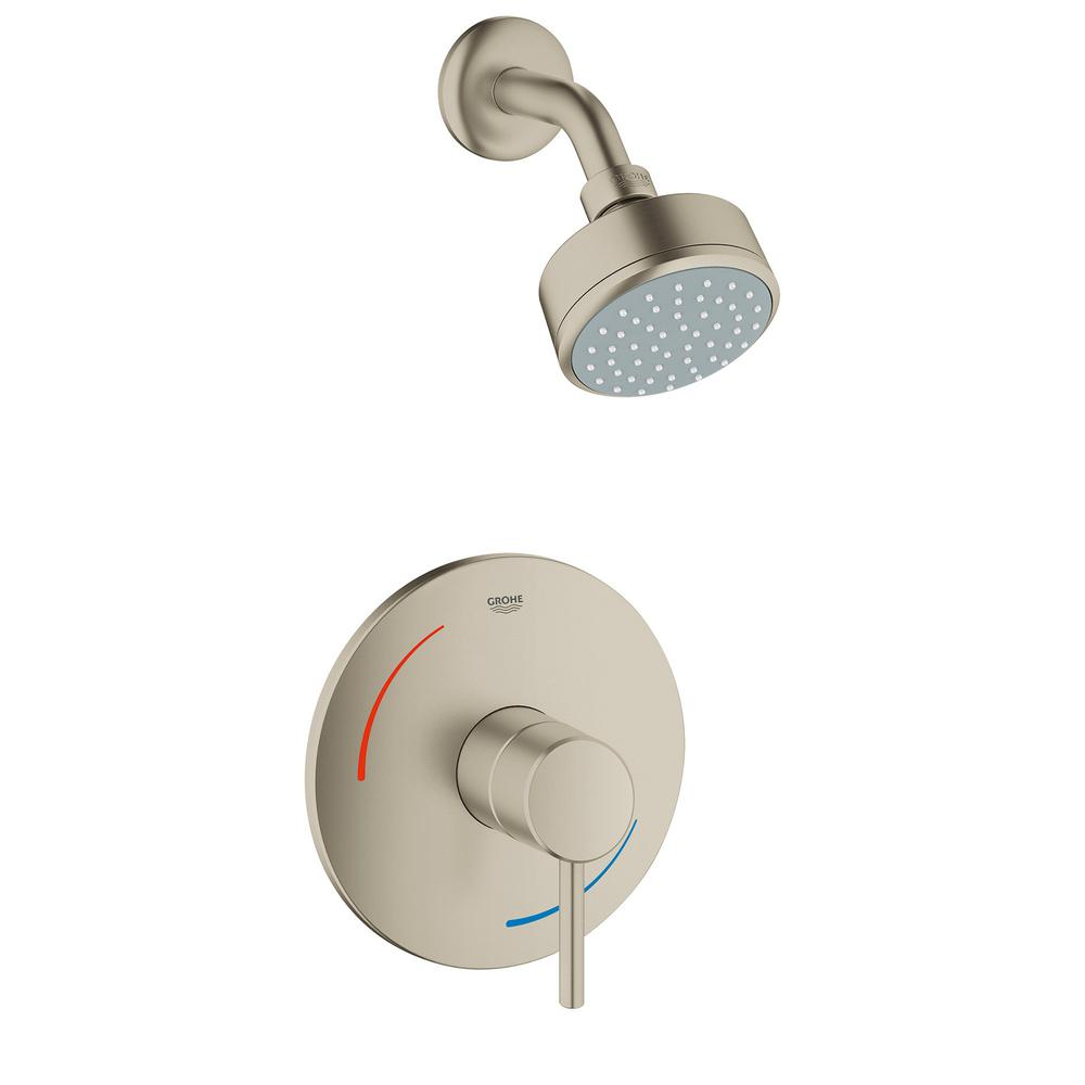 Grohe Concetto 1 Handle 1 Spray Tub And Shower Faucet In Brushed