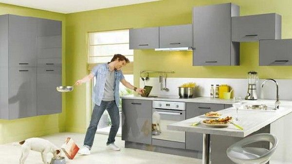 Great Top Contemporary Kitchen Collection From Conforama: Ergonomic Lemon Green  And Gray Kitchen With Stylish Coutertops