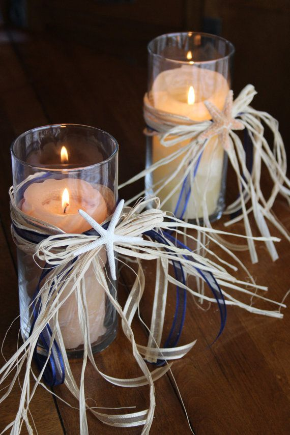 Beach Themed Wedding Candle Vases Starfish Centerpieces Nautical