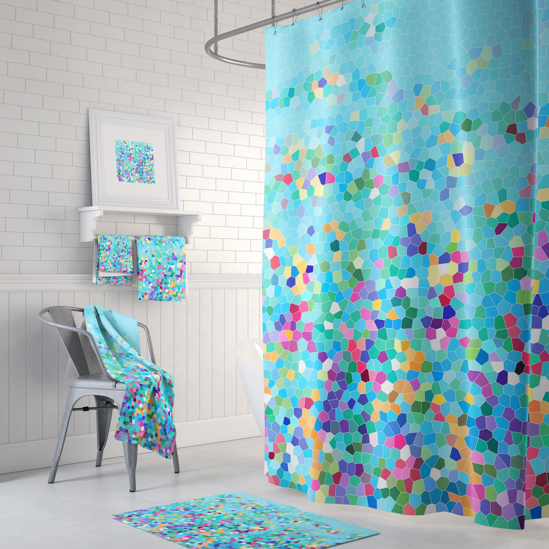 color burst in blue shower curtain set