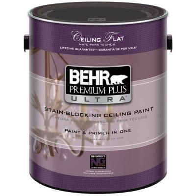 Behr Premium Plus Ultra 1 Gal Ultra Pure White Ceiling Paint 555801 The Home Depot Painted Ceiling White Ceiling Paint White Ceiling
