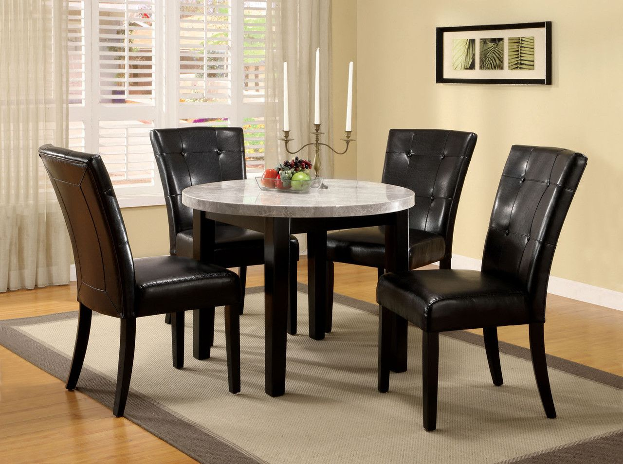 Furniture Of America Dining Table Round 40 With Marble Top And 6