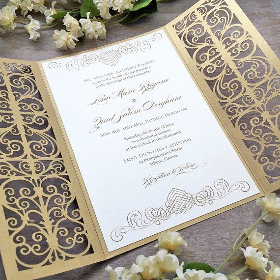 Lisa Ivory And Gold Laser Cut Wedding Invitation Metallic Gatefold Invite