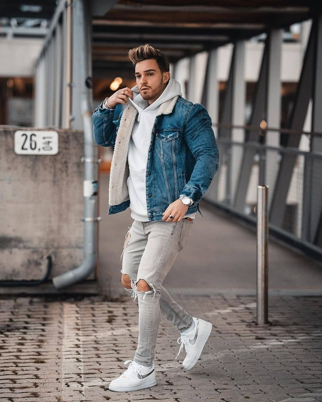 7 Denim Jacket Outfits You Should Try In 2020 Men Only Lifestyle Denim Jacket Outfit Winter Outfits Men Jean Jacket Outfits Men [ 1349 x 1080 Pixel ]