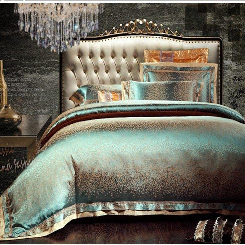 Luxury Jacquard Silk Quilt Duvet Comforter Cover King Queen Size 4pcs Green Satin Bedding Set Home Textile Luxury Bedding Luxury Duvet Covers Bed Linens Luxury