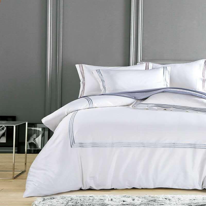Pure White Luxury Hotel Juegos de cama King tamaño Queen Silver Gold ...