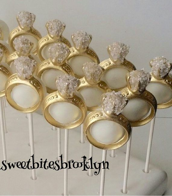 diamond ring cake pops engagement ring cake by sweetbitesbrooklyn gold bridal shower. Black Bedroom Furniture Sets. Home Design Ideas