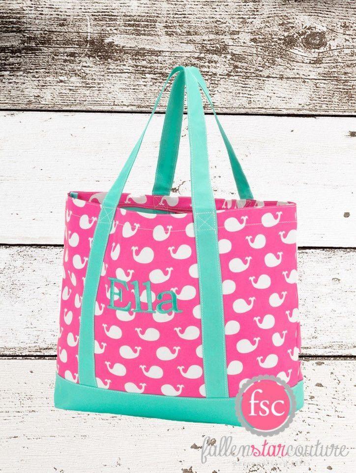 Monogrammed tote bag , whale tote bag, beach bag, kids beach bag ...