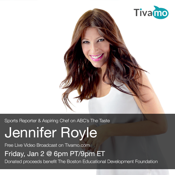 "Jen Royle is a pro sports writer and broadcaster, but is now a ""chef in progress"" competing and pursuing her culinary dreams each week on ABC's ""The Taste.""  Join Jen for a live broadcast video chat on Tivamo each week to hear the latest on her journey from sports writer to cookbook writer, and from sportscaster to TV chef."