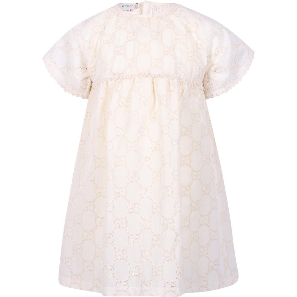 Gucci Girls' Logo Eyelet Lace Dress in Ivory White - BAMBINIFASHION.COM